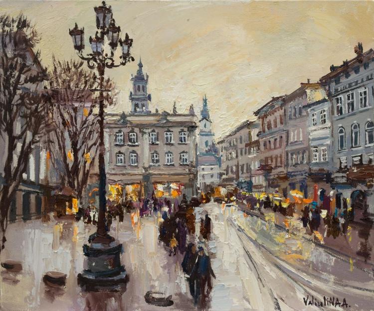 Lviv. Original oil painting evening city of Lviv, Ukraine, landscape painting - Image 0