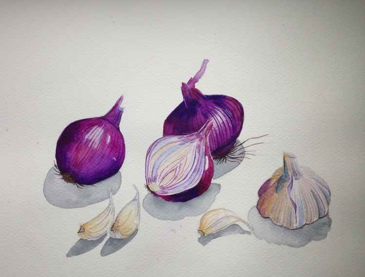 Still life with red onions and garlic