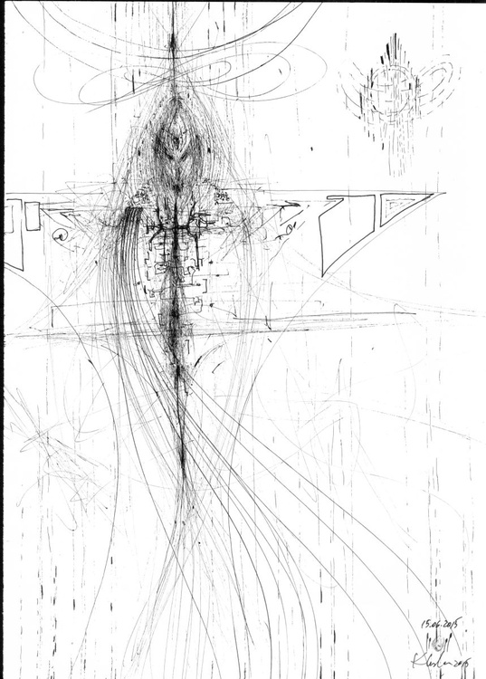 SPIRITUAL ECLECTIC SPONATE INK DRAWING ANGEL SIGNALS GOD CREATION AFORDABLE ART BY KLOSKA - Image 0