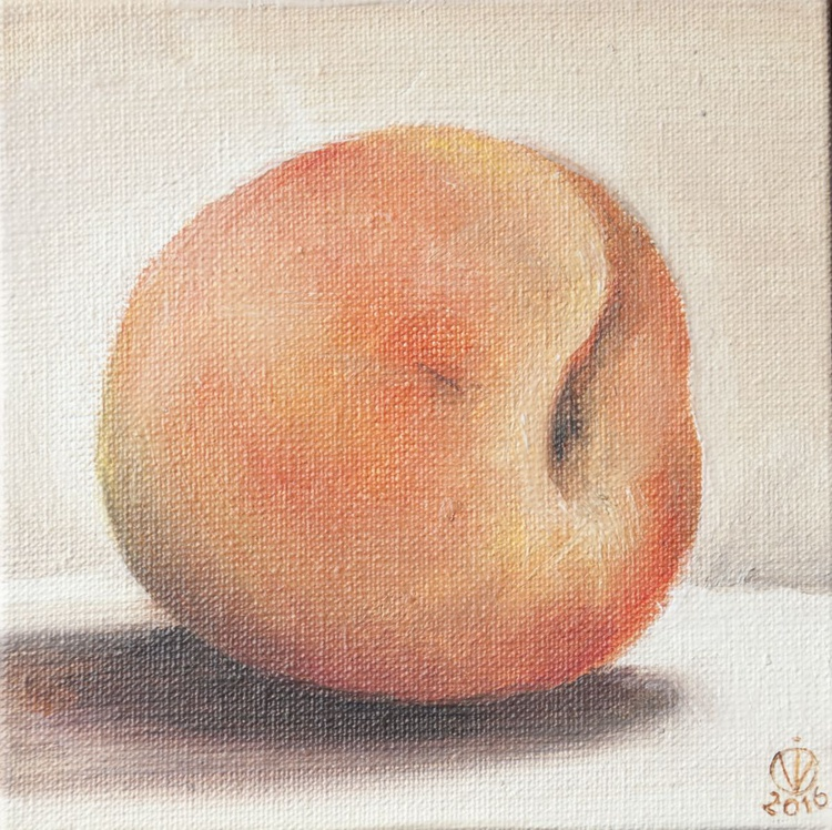 Peach (10x10 cm) original oil painting little still life yummy realistic small gift kitchen decor - Image 0