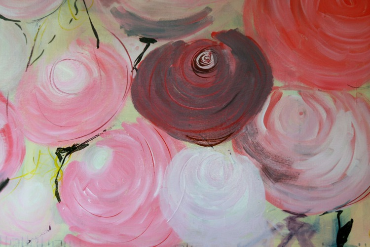 Mom Garden 1 - In souvenir of my mom and all the mothers - Large Abstract Roses - Image 0