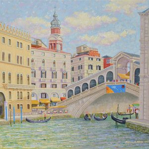 Approaching the Rialto Bridge in Venice by William R. Beebe