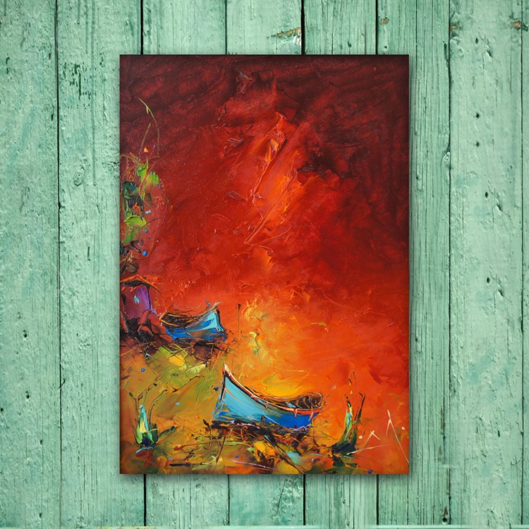 Red coast, Modern Landscape Painting on board With frame, Free shipping - Image 0