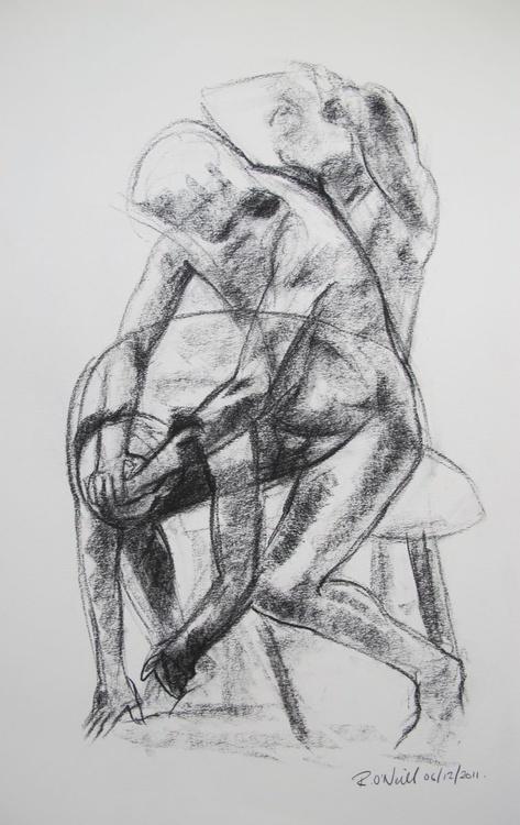 seated male nude - Image 0
