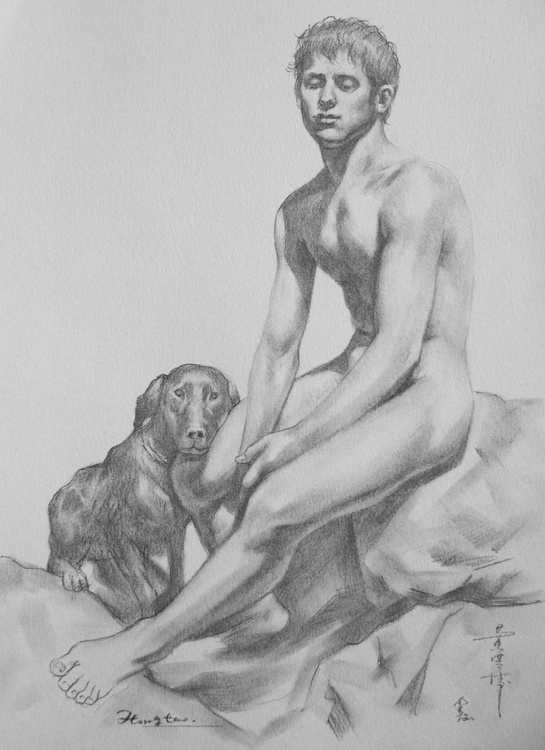 original art drawing pencil boy  and a dog on paper #16-9-1 - Image 0