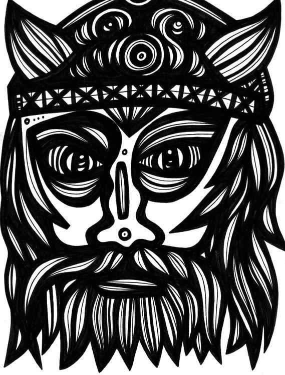 Viking Egregious Framed Original Drawing -