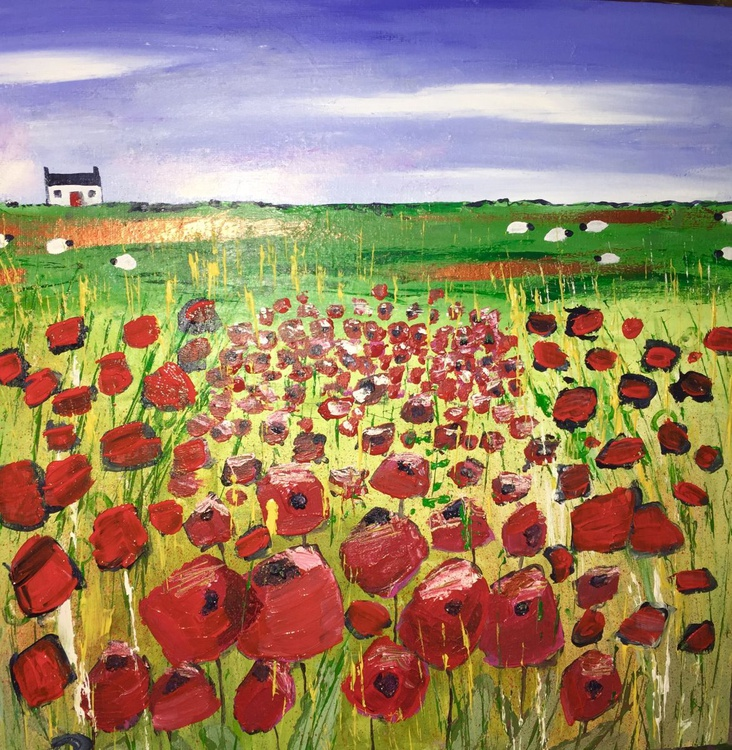 Country Poppies - acrylic landscape art - Image 0