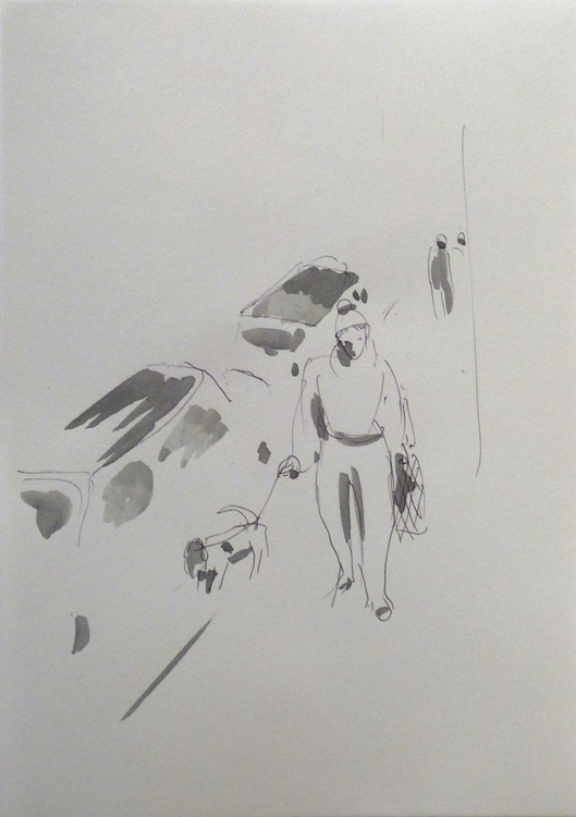 Walking a dog, City Sketch #5, Paris, Montmartre 21x15 cm - Image 0