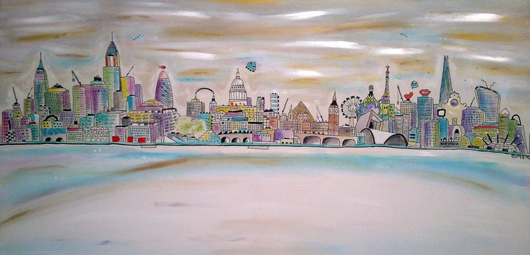 Crystal City ink on canvas - Image 0
