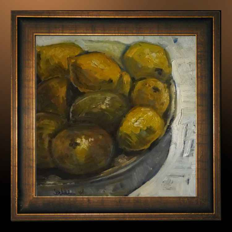 still life with lemons and some onions -