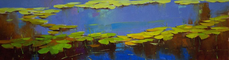 Waterlilies Blue Reflection Original oil Painting Large size Handmade artwork One of a Kind - Image 0