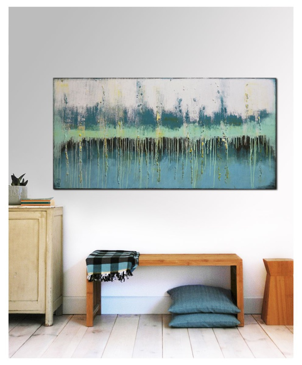 Abstract Painting - Landscape Blue & Green - C15 - Image 0