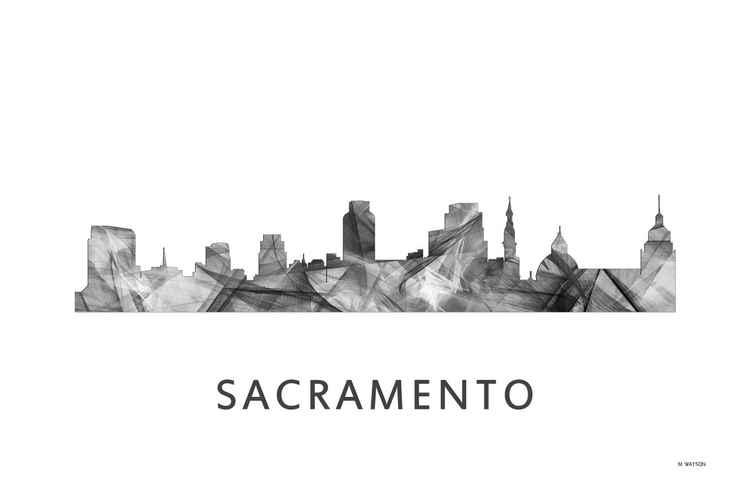 Sacramento California Skyline WB BW