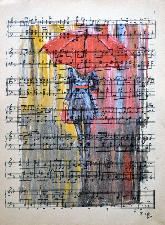 Red Umbrella  on the Vintage Music Sheet - Image 0