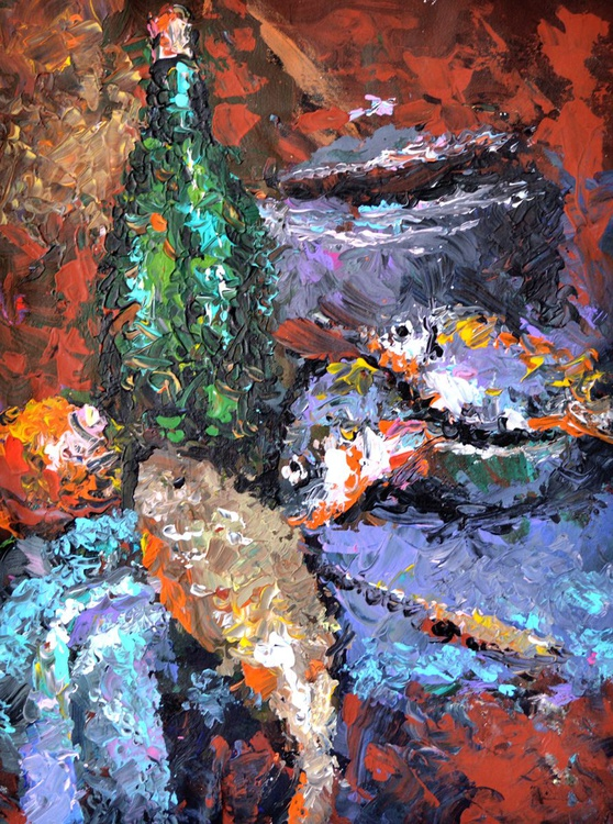 """Still life with fish - Original acrylic palette knife Painting, Size: 52cm x 39cm, (21""""x 15"""") - Image 0"""