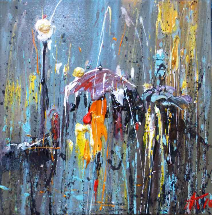 Abstract Rain, gift art, original oil painting 30x30  cm, Ready to hang! -