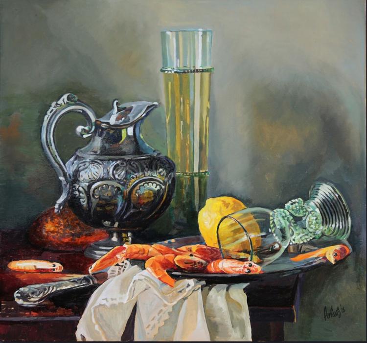 Still life with shrimp, lemon, white wine - Image 0