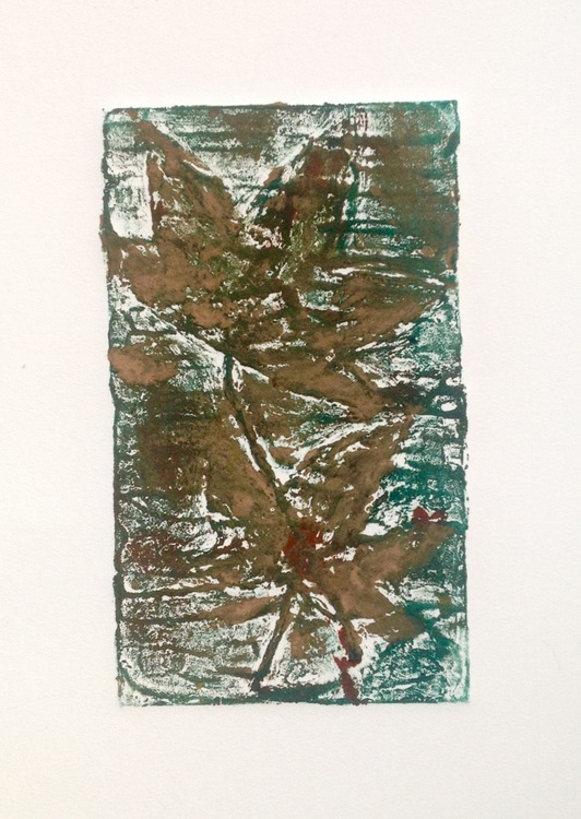 Traces II- abstract landscape- handmade collagraph print - Image 0