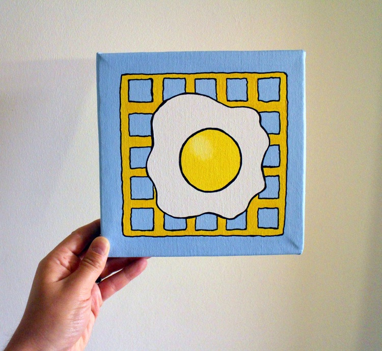 Potato Waffle And Fried Egg Pop Art Canvas - Image 0