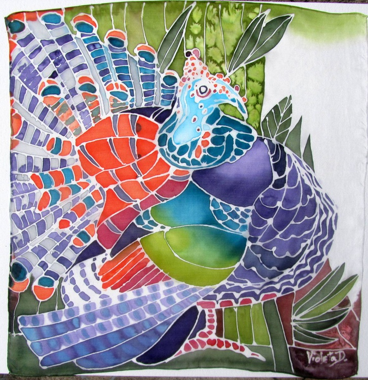 SILK painting: The Occellated Turkey 1 - Image 0
