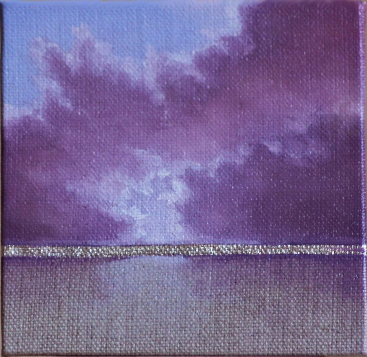 Purple seascape with real silver leaf detail - Image 0