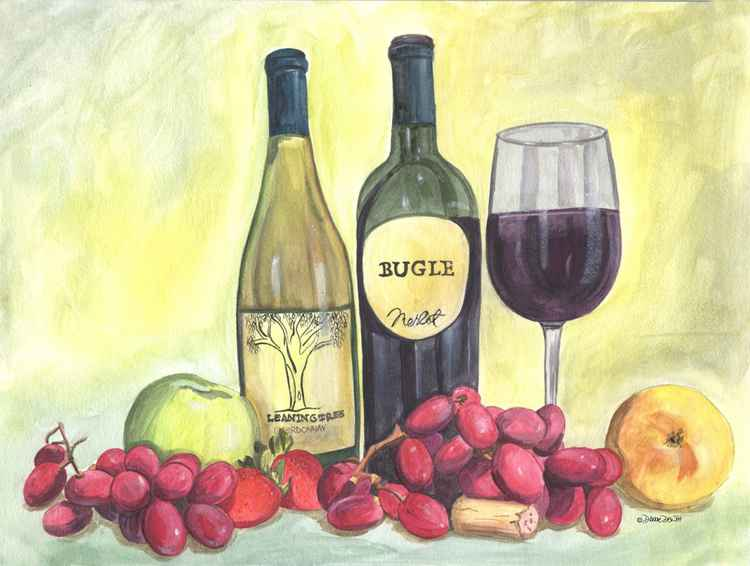 Watercolor Wine and Grapes