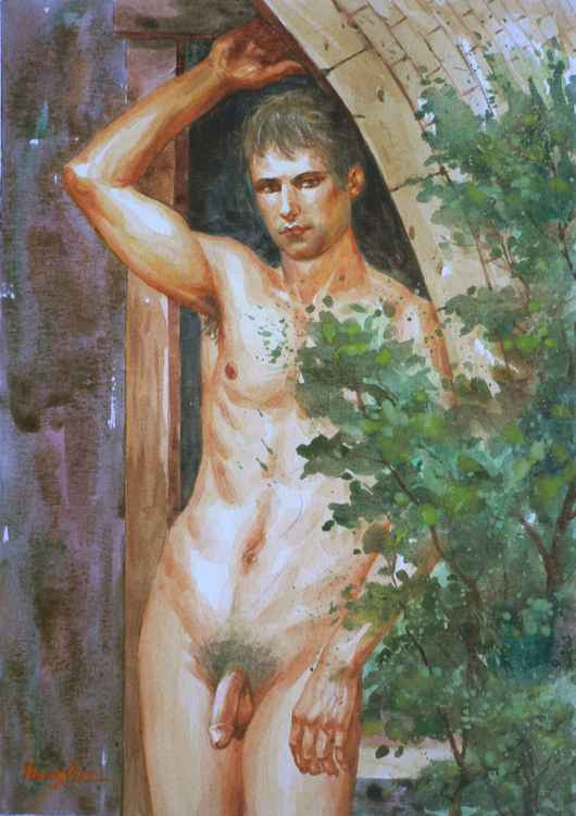 ORIGINAL DRAWING WATERCOLOR PAINTING ART MALE NUDE  MEN BOY ON PAPER#11-17-011