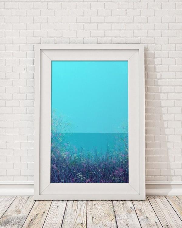 Aqua sky with wild flowers - Image 0