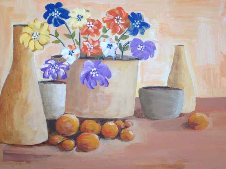 5 pots flowers and fruit -