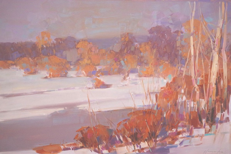 Landscape Snowy Meadow Oil painting  One of a kind Signed Hand Painted Large Size - Image 0
