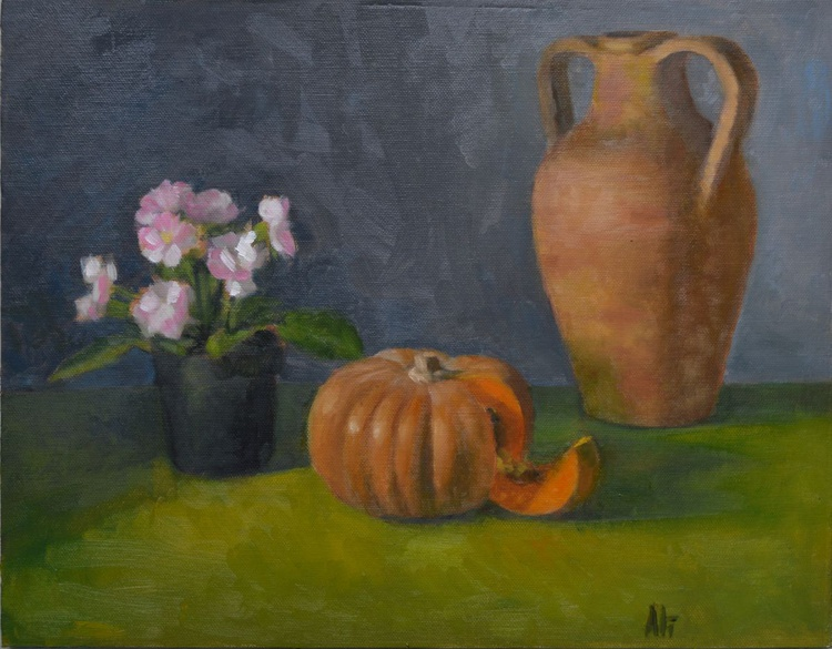 pumpkin flowers and jar oil painting still life painted alla prima by Paola Ali' - Image 0