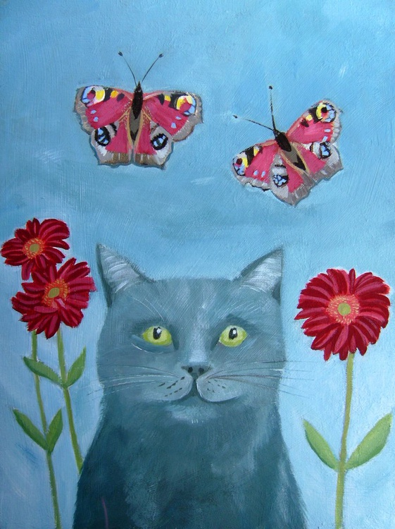 Cat with Butterflies - Image 0