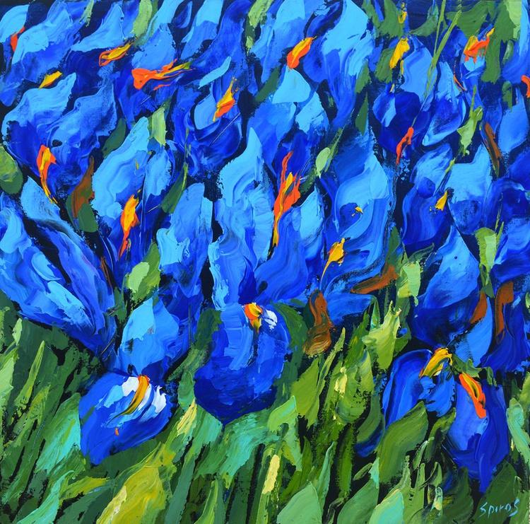 Blue Irises II - Original Oil acr. palette knife Painting, Size: 60cm x60cm - Image 0