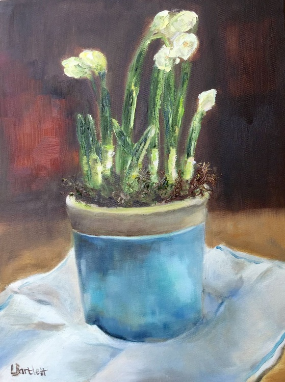 Narcissus In Pale Blue Pot - Image 0