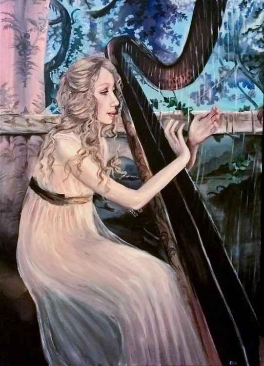 Girl playing the harp II