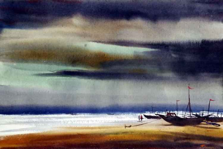 Monsoon Seashore & Fishing Boats II - Watercolor Painting -