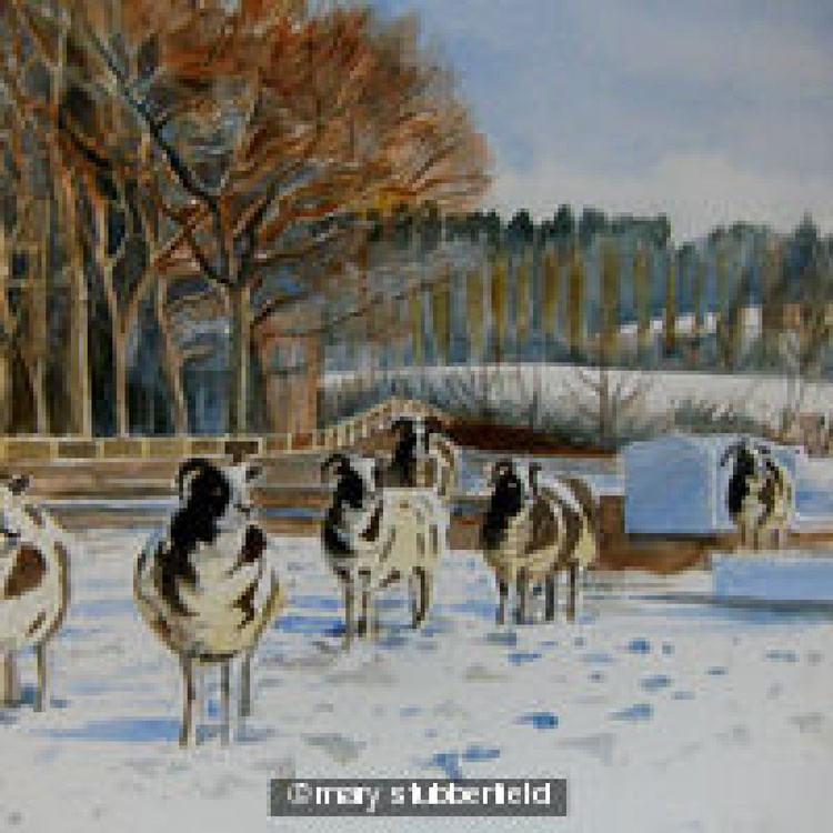 Sheep in Snowy Field - Image 0