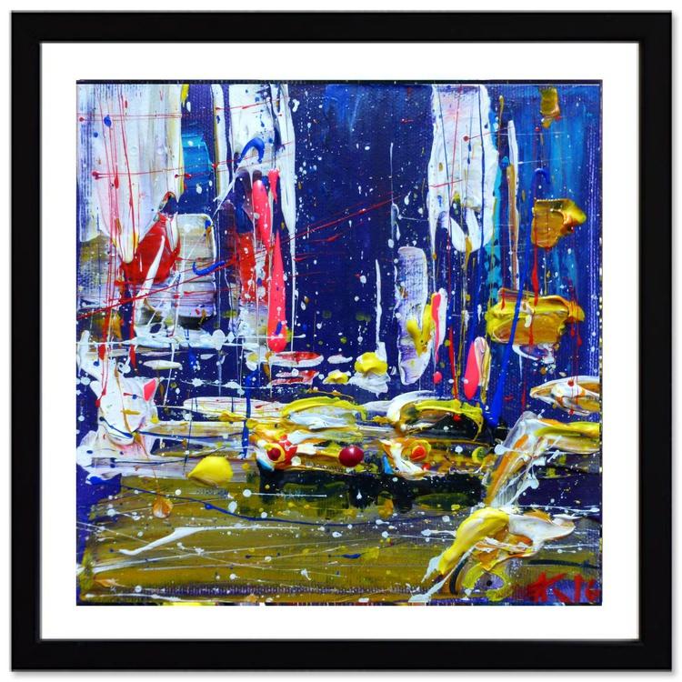 Evening cars, original painting 19x19 cm - Image 0