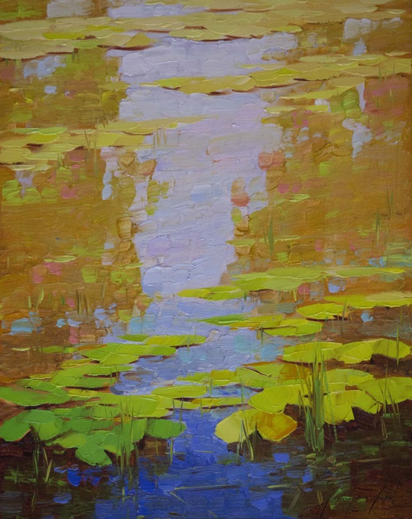 Water lilies Original oil Painting  Handmade artwork One of a kind - Image 0