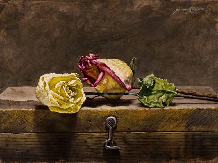 Roses on Antique Art Box - Image 0
