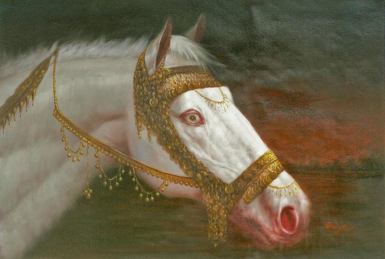 ORIGINAL OIL PAINTING ANIMAL ART THE WHITE HORSE ON LINEN #16-10-2-03 - Image 0