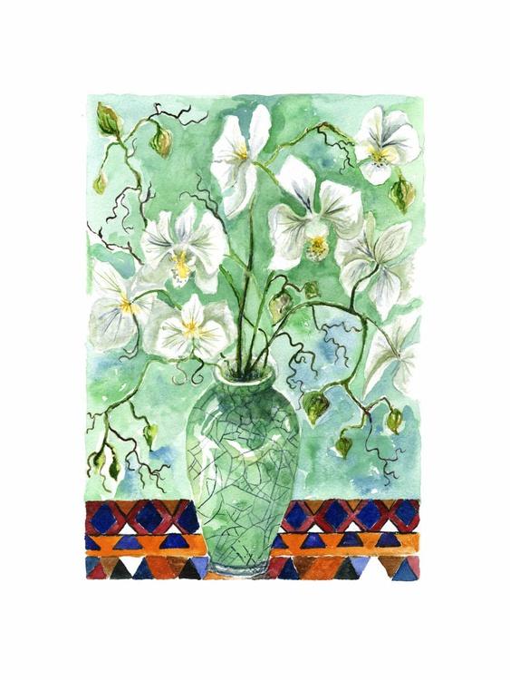 White orchid in a raku vase - Image 0