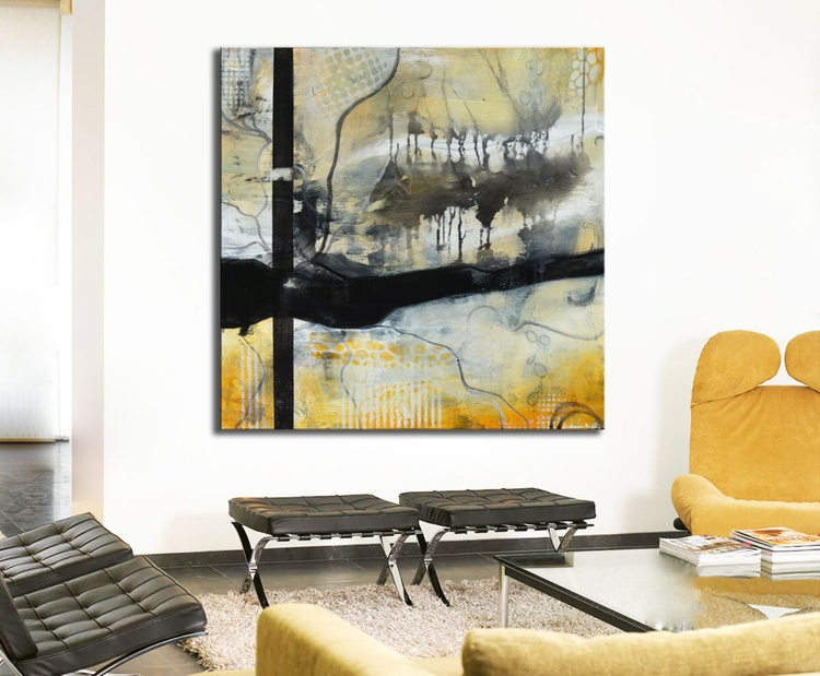 Lost Forest' of Ancient Oak Trees - black, white and yellow abstract painting - Image 0