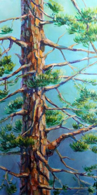 "Original oil painting of a pine tree, painting of the nature ,""Tree"" - Image 0"