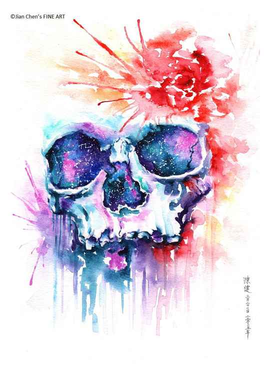 the skull with rose -