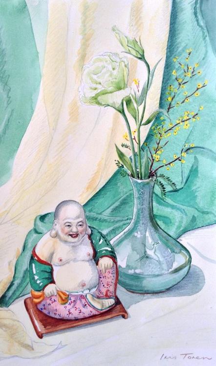 Happy Buddha with Lisianthus Flower - Image 0