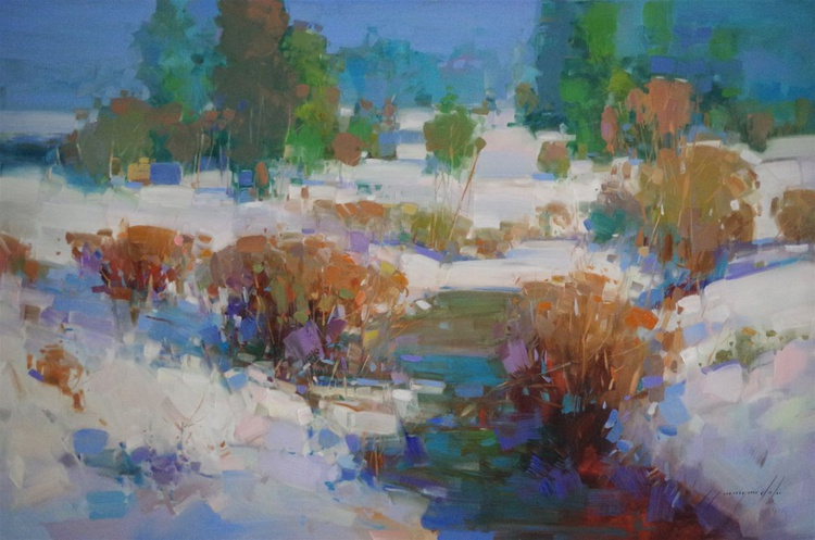 Landscape  Oil painting, Winter Time, One of a kind, Signed with Certificate of Authenticity - Image 0