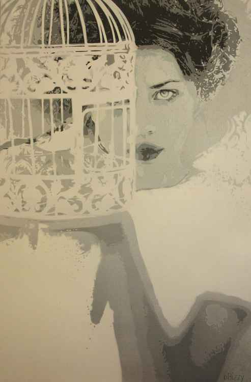 Lady with bird cage -