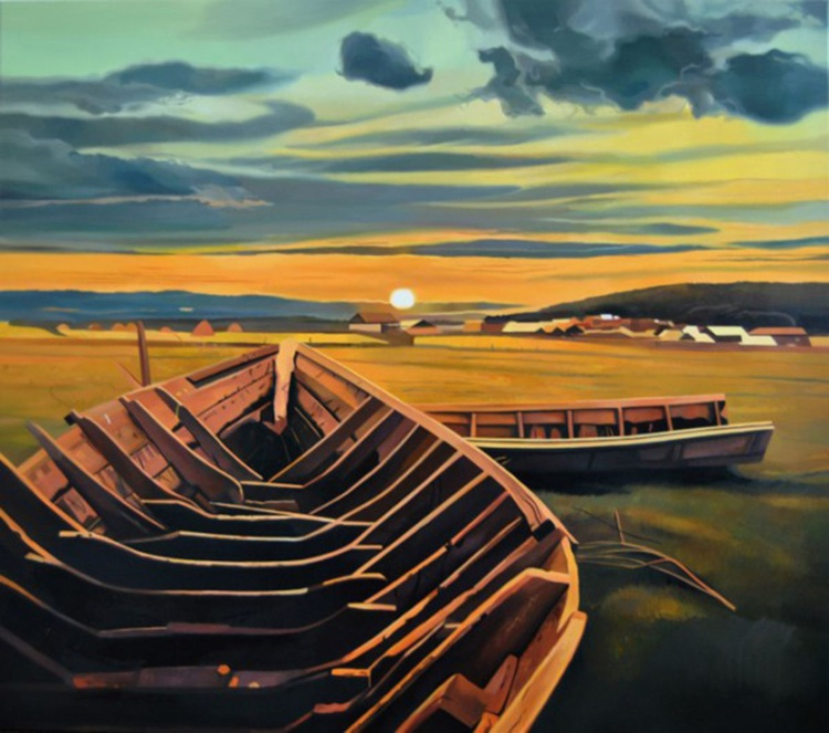 Old boats, Large original painting - Image 0