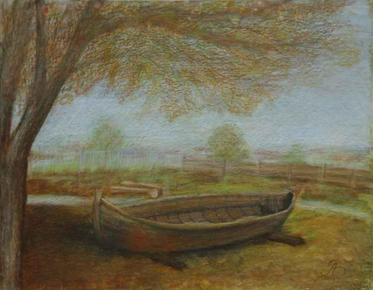 The boat in autumn -